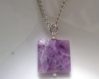 Amethyst Necklace, Amethyst Pendant Necklace, Gemstone Pendant, Square Pendant Necklace, Purple Pendant Necklace, Stone necklace