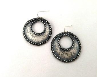 studded disk earrings, sterling silver, primitive hoop earrings, gypsy earrings, post apocalypse earrings, tribal disk earrings