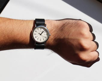 Black Leather Timex Weekender Watch Strap