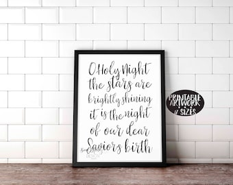 Downloadable Prints | O Holy Night | Christian Christmas Hymn Print | Printable Quote | Instant Artwork