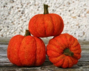 Three FELTED PUMPKINS - made to order