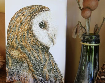 CARD • Barn Owl • Cornish artist • owl card • owl art • nature • owl illustration • wildlife card • stipple art • Cornwall • Natalie Toms