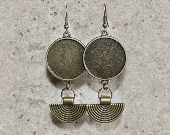 bronze earrings with medium round cabochon 25 mm