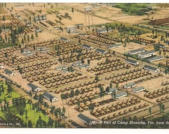 Military Collectible Postcard - WWII Postcard Camp Blanding FL - Circa 1940 Postcard - Message to Mom and Dad