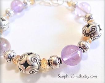 40% off PERSEPHONE Lavender Purple Fluorite, Golden Yellow Citrine Gemstone, Hill Tribe Fine Silver Bracelet