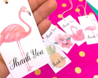 Flamingo Gift Tags. 10 Watercolor Thank You Gift Tag Labels. Mixed design Pineapple Gift topper Tropical Novelty Gift Tags. Custom Gift Tags