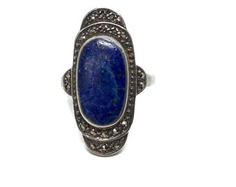 Lapis Lazuli Ring, Art Deco, Sterling Silver, with Marcasite Ring, Size 8.25, Vintage Ring, Vintage Jewelry, Art Deco Rings, Gift for Her