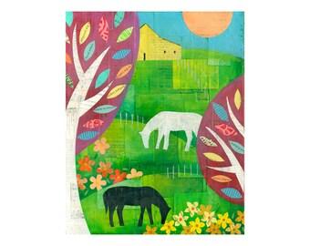Horse Farm, horse painting, original collage, collage art, 11x14, horse art, horse decor, nursery art, by Elizabeth Rosen