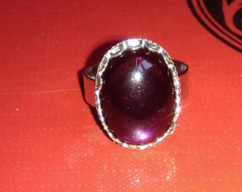 Silver and purple gothic ring