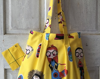 Sassy shoulder bag handmade whimsical quirky tote light weight yellow canvas lined bag with pocket flip flop design shopping bag market tote