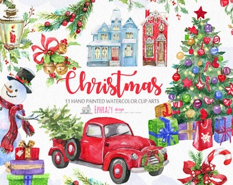 Christmas,Christmas tree,Snowman,Truck,Pickup,Presents,Winter,Decoration,Decor,Candy,Gifts,Red,Merry,Vintage,Watercolor,Clipart,Clip art