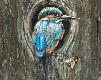 Kingfisher Bird Bee Wood Print
