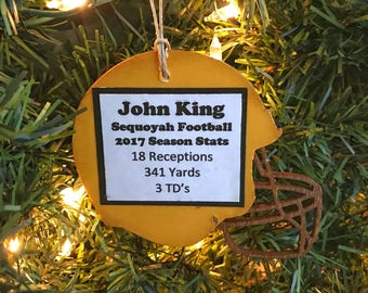 Personalized Football Ornament, Football Stats Ornament, Football Coach Gift Ideas, Player Gifts for Football Players, Football Team Gifts