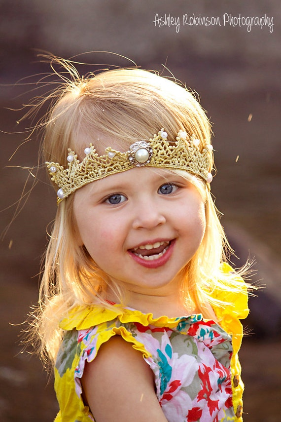 Gold Baby Crown, Crown Headband, Birthday Crown, Princess Crown, Gold Crown Headband, Gold Crown, Princess Headband, Baby Headband,