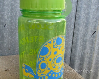 Kids Turtle Theme Beverage Bottle with Blue and Yellow Turtle and Quote