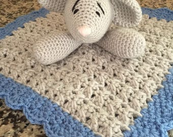Crochet Snuggle Mouse Lovey Security Travel Wubby Baby Blanet Afghan