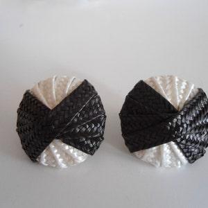 Beautiful black white vintage earrings, 80 style.