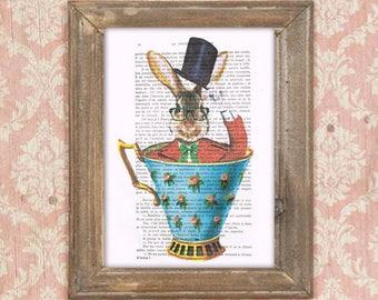 Rabbit in a cup, rabbit in teacup, butterflies, rabbit illustration, bunny art, rabbit poster, vintagey print, human animal print