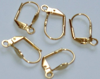 50 pcs Gold-plated brass leverback earwires with shell 15X10mm