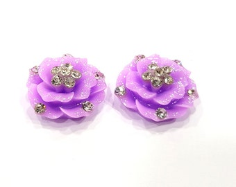 2 Purple Flower Cameo Cabochon 20mm  G12250