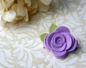 Felt Flower Hair Clip for baby, Baby Hair Clip, infant clippie, toddler, tween, teen, adult - Lavender Hair Clip - 20 COLORS - Photo Prop