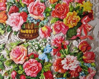 Vintage EAS Germany Die Cut Paper Scraps Of Flower Baskets  EAS 3081