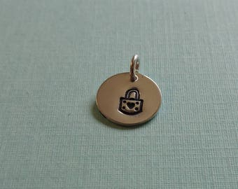 Padlock with Heart Hand  Stamped Charm or Necklace in Sterling Silver Brass or Copper (#1735)