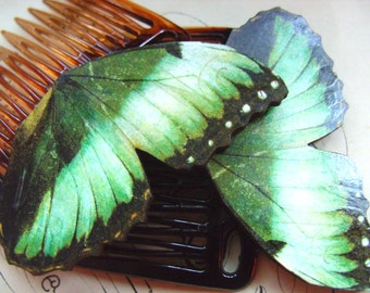 Green , Butterfly wings, hair slides, hair combs, Pair, by NewellsJewels on etsy