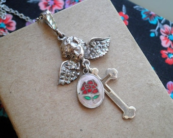 Vintage Angel Charm Necklace - Silver Cross & Enamel Red Rose Religious Catholic Icon Charms - Retro Easter Floral Jewelry Angel Prayer Gift