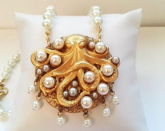 Octopus with Pearls - Handmade Original - Plated with 24kt Gold