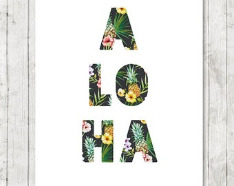 Aloha Print, Tropical Home Decor, Hawaii Print, Aloha Printable, Beach Art, Summer Wall Art,Hawaiian, Surf Art 8x10,16x20 - INSTANT DOWNLOAD