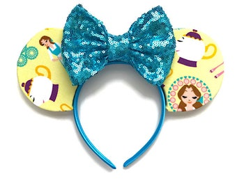 Beauty and the Beast Fabric Inspired Mouse Ears Belle Mouse Ears