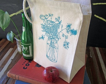 Lunch Bag - Screen Printed Lunch Bag - Reusable - Recycled Cotton - Eco Friendly Lunch Box - Canvas Tote Bag - Wildflowers - Mason Jar