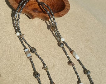 Australian Glass Necklace with byzantine metal accents