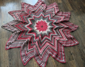 Red and Grey Star Lap Blanket
