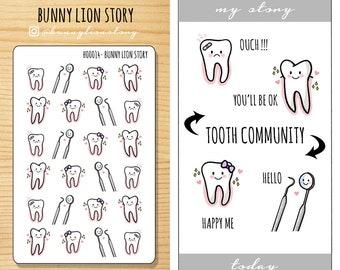 H00014 | Tooth Teeth Dentist Hygiene Appointment  | Cute Kawaii Planner Scrapbook Journal Diary Agenda Reminder Schedule Decoration Stickers