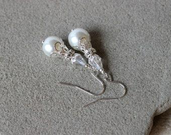 White Pearl Earrings, Bridal Earrings, Wedding Earrings, Pearl Crystal Earrings, Pearl Jewelry, Rhinestone Earrings, Pearl Silver Earrings