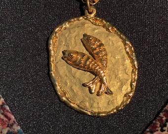 Pisces Fish Medallion Necklace/Pendant/Goldtone/24 inch Chain/Signed ART/1960s 70s/Retro/Hippie/Boho/Age of Aquarius/Zodiac