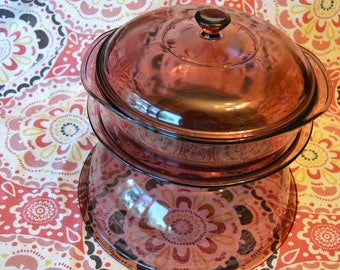 Lot of 3 Pyrex Cranberry Pink  624C Casserole with Lid, 209 Pie Plate, 326 Mixing Nesting Bowl