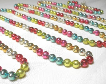 Vintage Mercury Glass Bead Garland for Feather or Christmas Tree appx 8 1/2 Feet - 103 Inches Antique Multicolor Double Beads Very Pretty
