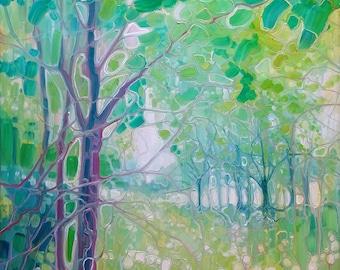 ORIGINAL Oil Painting - Summer Green - a green Sussex landscape