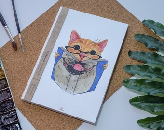 Chats aquarelle carnet de notes à la main, Animal, Hard cover journal, Illustration, carnet, carnet de croquis, journal intime, cadeau, 21 × 14.8