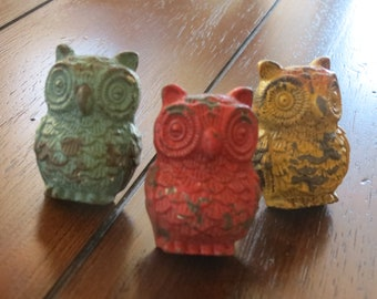 Dresser Drawer Knobs / Owl Drawer Knobs / Multi Color Drawer Pulls / Whimsical Knob / Cupboard Knobs/ Drawer Handles/ Nursery Owl Decor