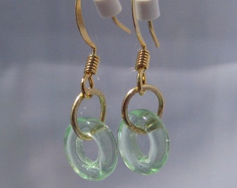 Gold wire earrings: gold and pale aqua glass loops