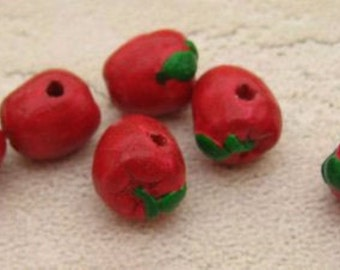 20 Tiny Red Apple Beads
