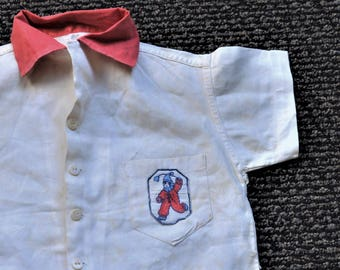 "30's -40's Baby's Clown Linen Shirt,28"" Chest, 2T Toddler ,Children's Costume,Vintage Embroidered Patch,Unisex Kids' Clothing ,Costumes,"