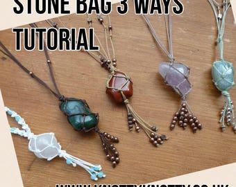 TUTORIAL Macrame Stone Bag / Macrame Net Bag Tutorial / Knotty Knotty Macrame