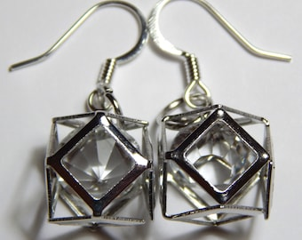 Glass Crystal in Silver Cube with Surgical Steel Earwires