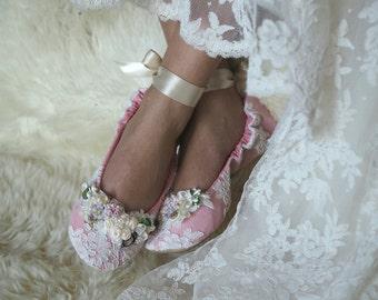 Reinessance Princess Ballerina Bridal Slipper, Rose Ballet Style Bridal Shoe,  Customized Wedding Shoe,  Elegant Bridal Ballet Slipper