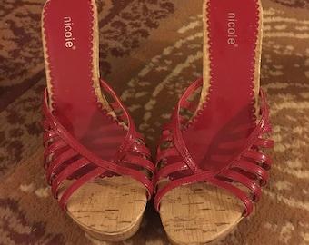 nicole red wedge high heels